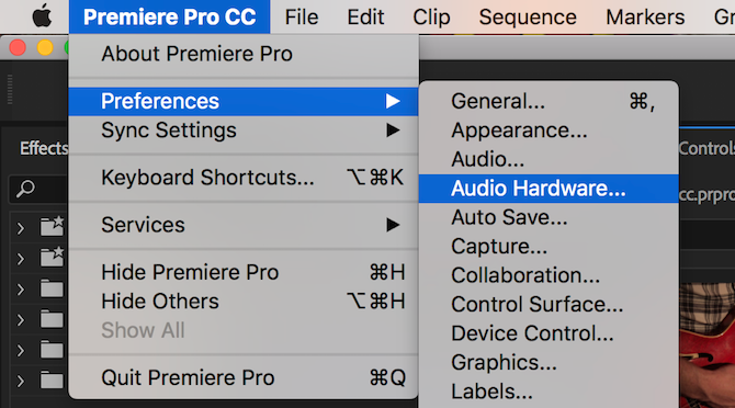 Premiere Pro audio hardware menu