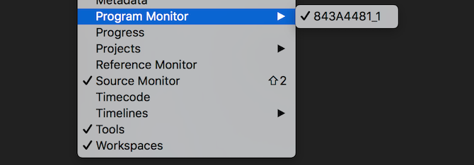 Premiere Pro program monitor menu items