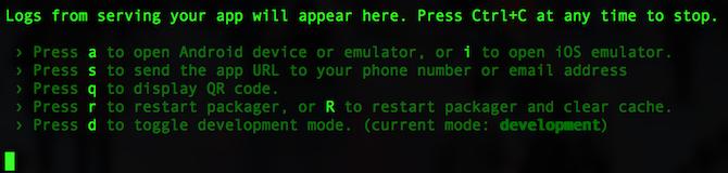 React Native server running