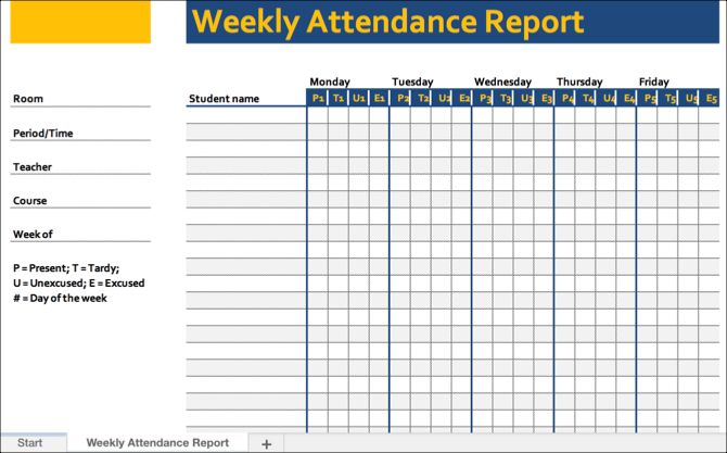 Weekly Attendance Template