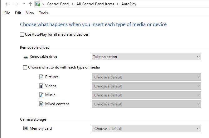 Панель управления автозапуском Windows 10