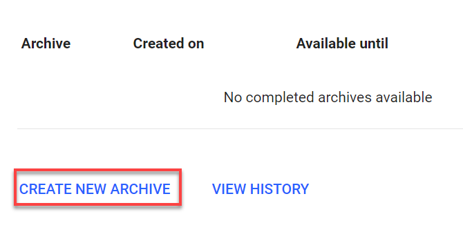 Gmail -- Create New Archive