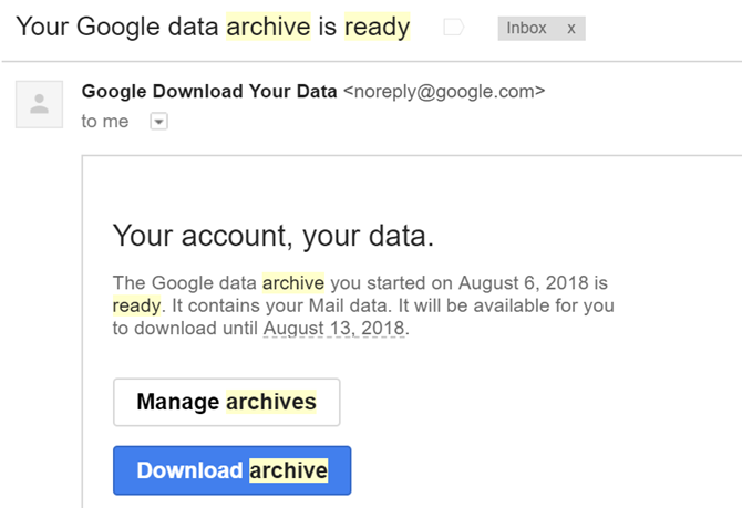 Gmail Data Archive