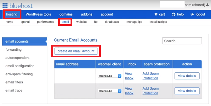 Create an Email Account Bluehost