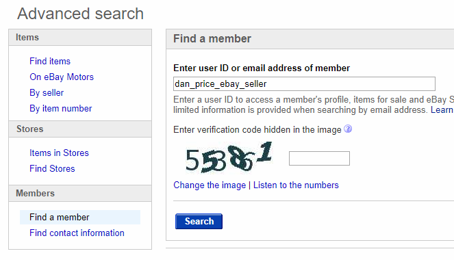 Search for a User on eBay