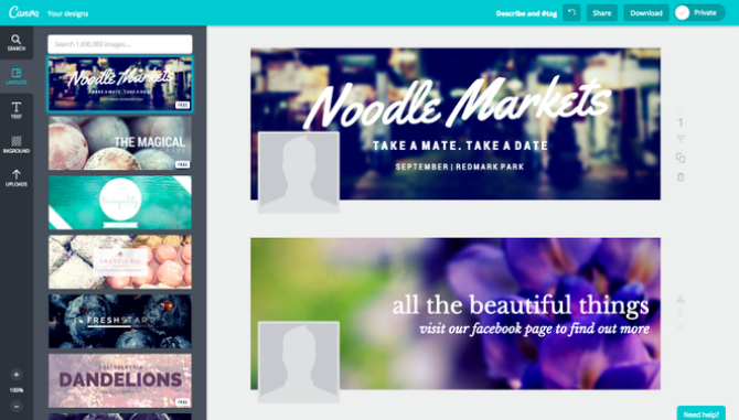 Create facebook cover photo with canva templates