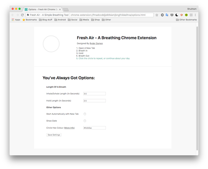 Fresh Air Chrome Extension