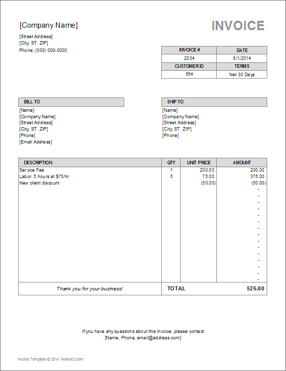 10 simple invoice templates every freelancer should use billing invoice template flashek Choice Image