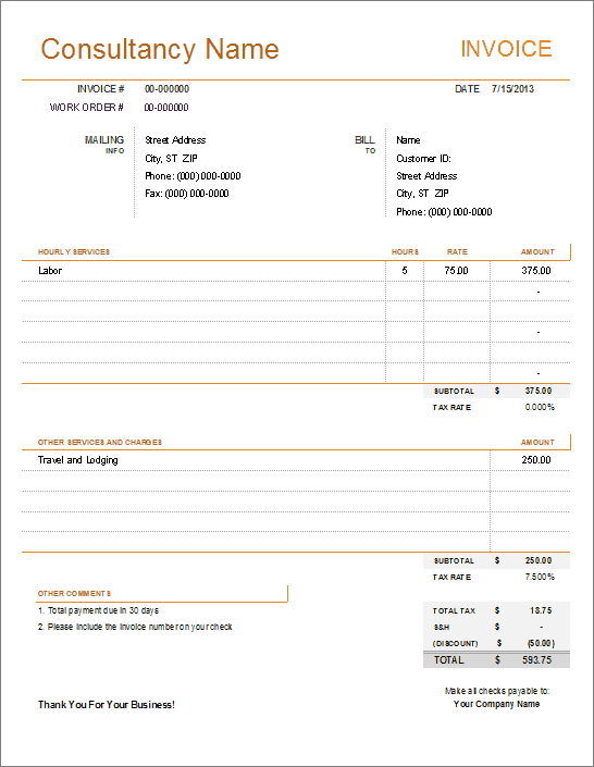 Simple Invoice Templates Every Freelancer Should Use - Work hours invoice template