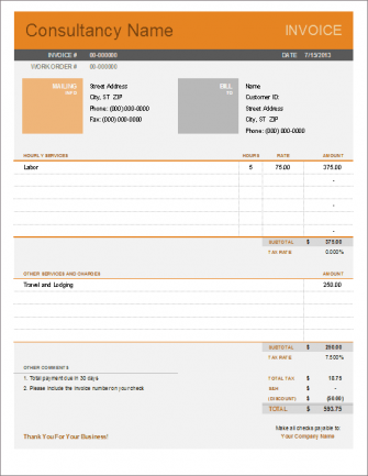 Simple Invoice Templates Every Freelancer Should Use - Contract work invoice template