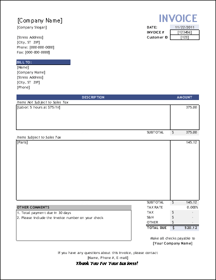 Simple Invoice Templates Every Freelancer Should Use - Phone invoice template