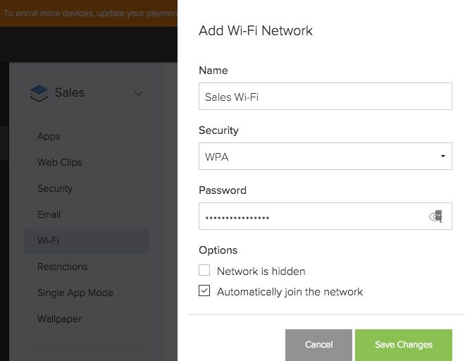 jamf now deploy wifi networks