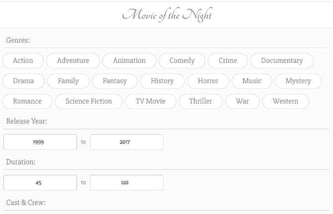 simplest movie recommendation site movieofthenight