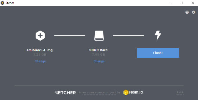 Burn the Amibian OS to SD card with Etcher