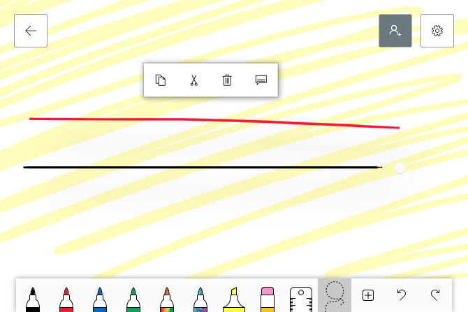 whiteboard object options