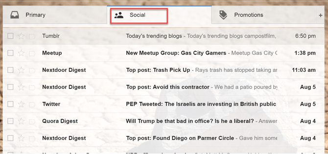 Gmail's Social and Promotions tab
