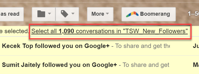 Select conversations in Gmail