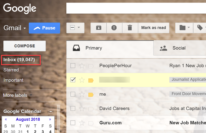Bloated Gmail Inbox