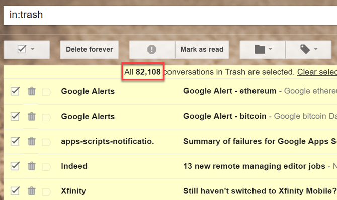 how to clean google drive trash bin