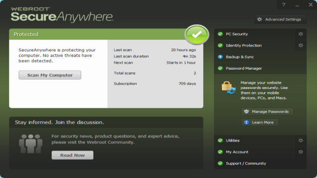 webroot home screen