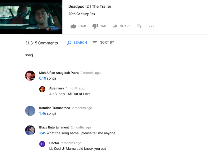 youtube comments search