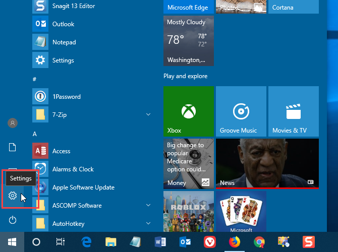 Open PC Settings from the Start menu in Windows 10