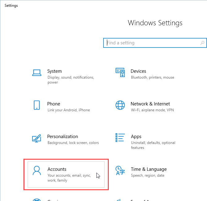 Click Accounts in Settings in Windows 10