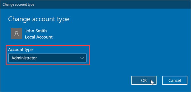 Change account type catalog in Windows 10 Settings