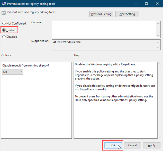 Enable the Prevent access to registry editing tools setting in the Local Group Policy Editor