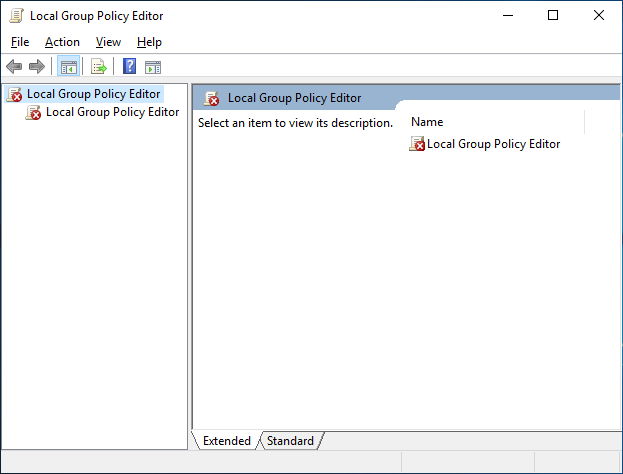 Local Group Policy Editor in a standard account