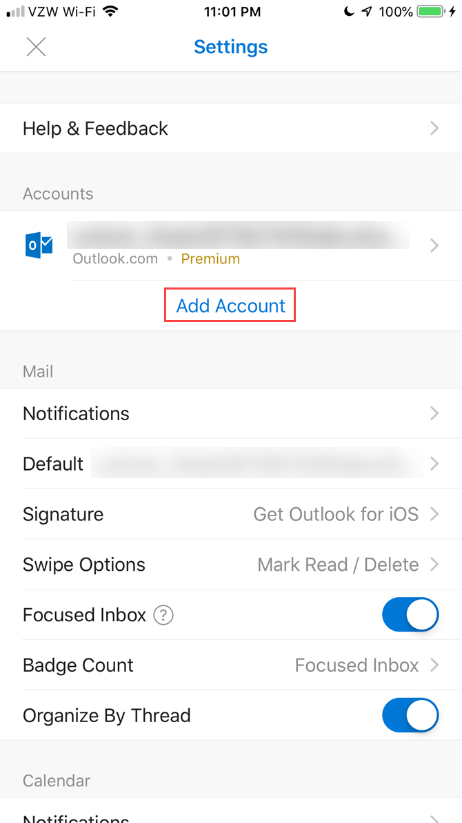 outlook android imap