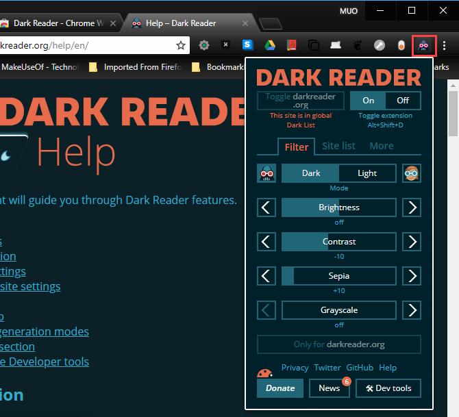 11 Dark Reader Extension In Chrome Mode Edge