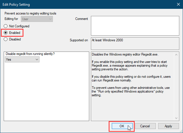 Enable the Prevent access to registry editing tools setting in Policy Plus