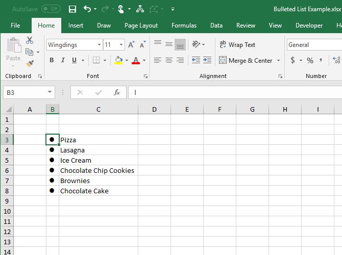 7 Möglichkeiten zum Erstellen einer Aufzählungsliste in Excel