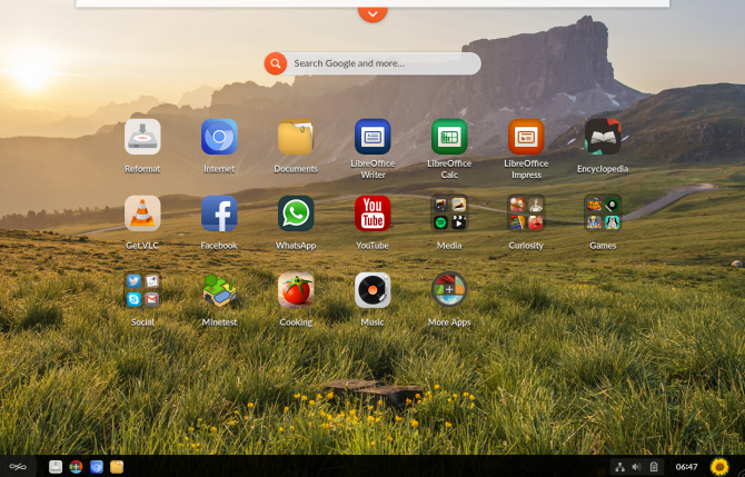 Endless OS home screen and app drawer