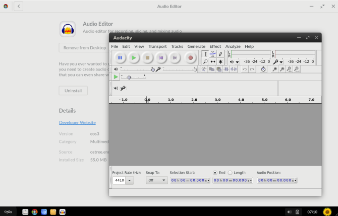 VLC audio editor open on the Endless OS desktop