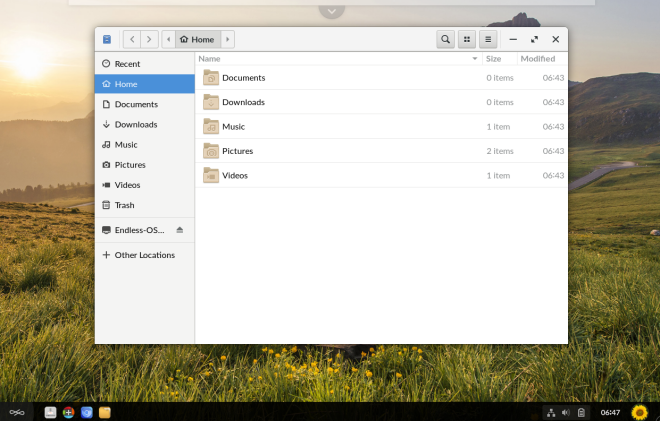 File manager open on the Endless OS desktop