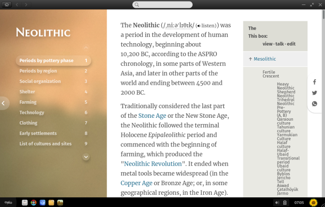 Endless OS History app detailing the Neolithic era