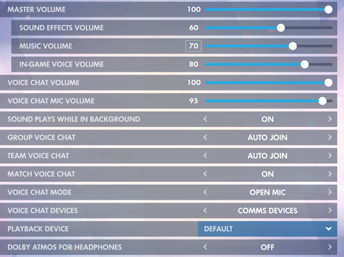 Overwatch Sound Settings