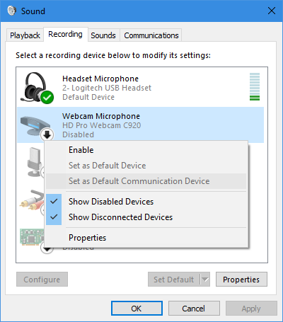 Windows 10 capture devices