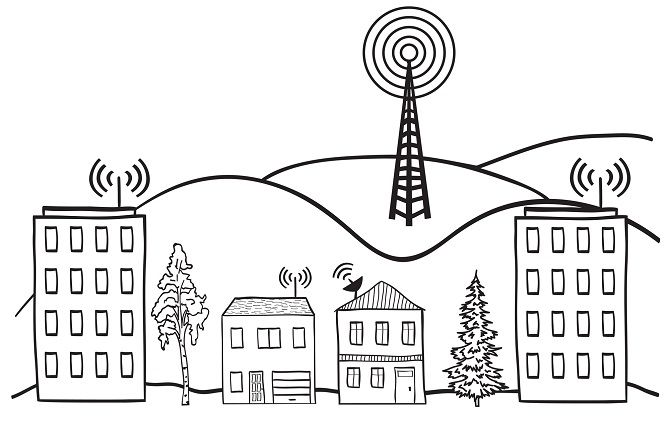 Drawing Of Wireless Signals Broadcasting From Multiple Buildings