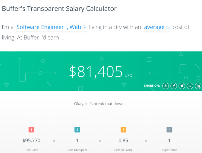 Buffer's transparent salary calculator shows what you can make in similar jobs