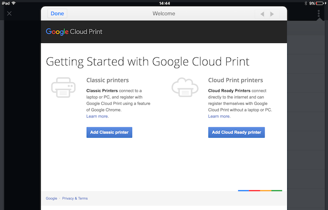 set up google cloud print
