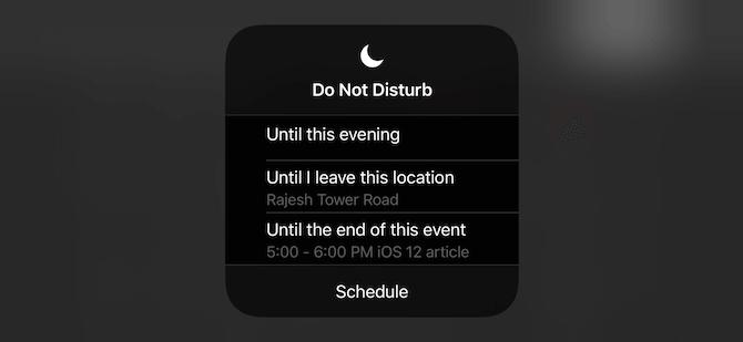 iOS 12 Do Not Disturb Options