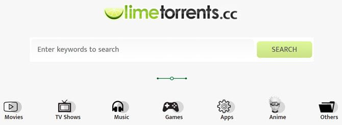 limetorrents search page
