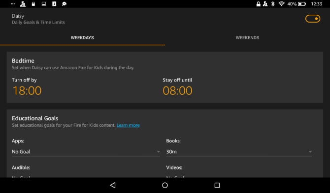 Fire Tablet: set time limits on your child's profile
