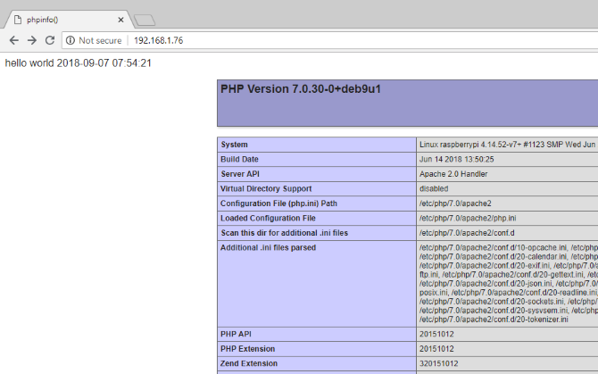 PHP installed and working on Raspberry Pi