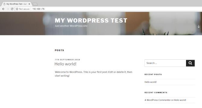 Installed WordPress site on a Raspberry Pi