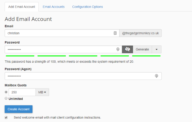Create an email account for your domain