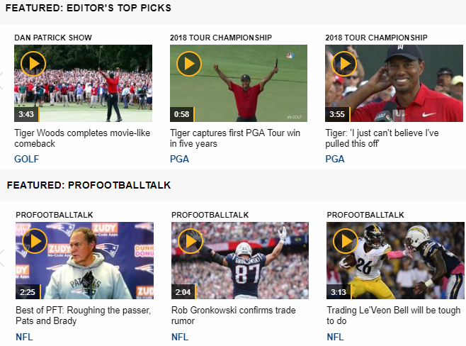 nbcsports video section on website